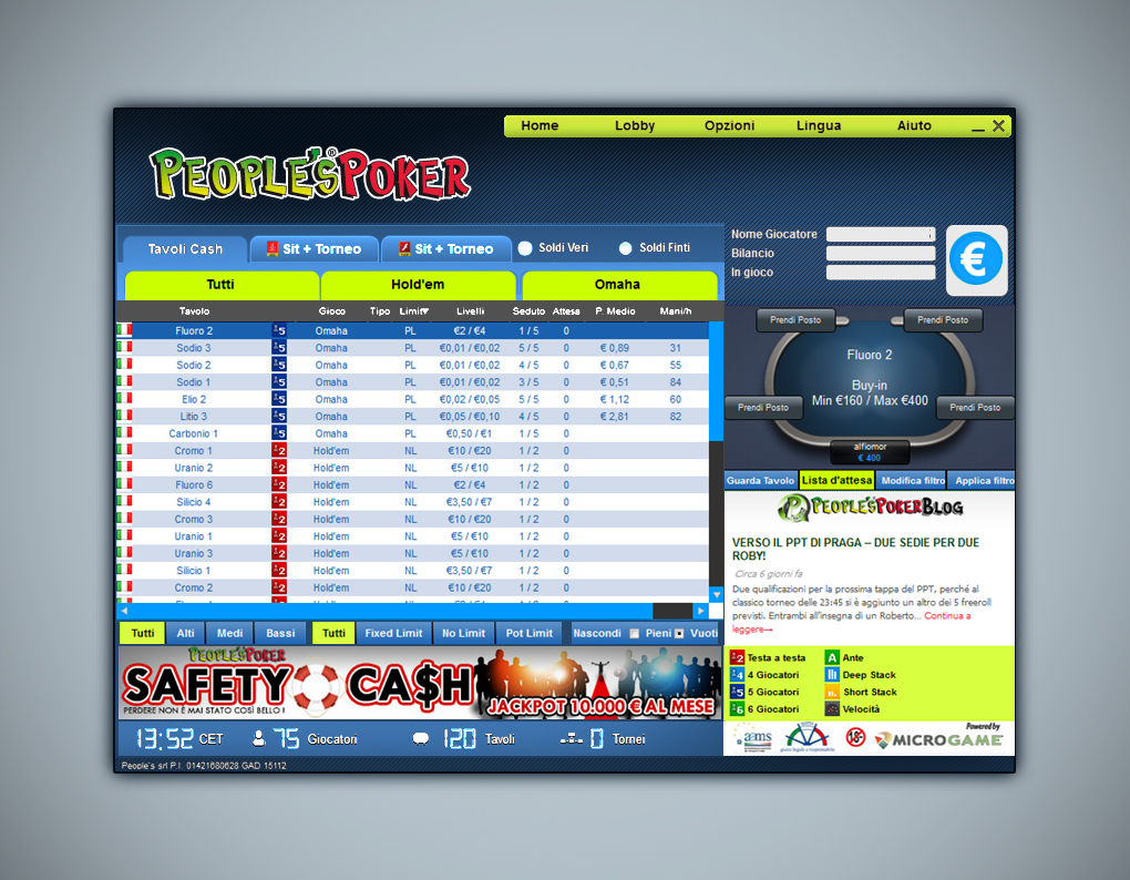 Client 2012: da giovedì 22 novembre la migrazione completa dei tavoli cash
