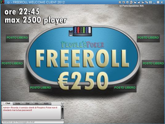 Freeroll da 250€: appuntamento sul Client 2012 alle 22:45