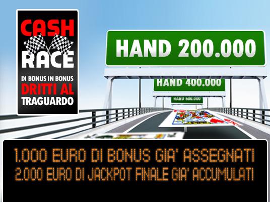La Cash Race vicina al 15° intertempo e il Jackpot è già a quota 2.000 Euro!