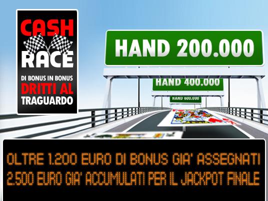 La Cash Race viaggia verso il 20° intertempo… e il Jackpot continua a correre!
