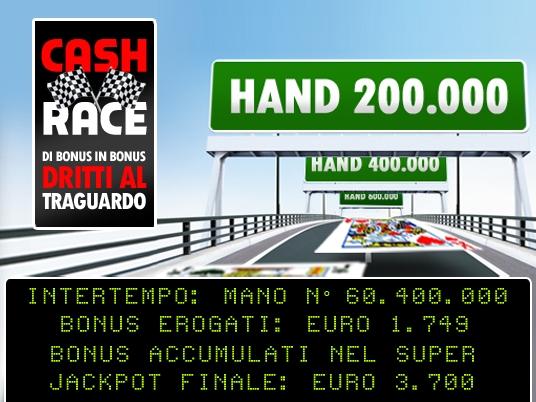 La Cash Race al giro di boa, con un Jackpot Finale da sogno!