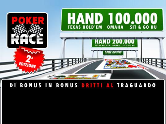 40.000 Euro in pista per la nuova Poker Race: questa volta premiamo anche i più costanti e gli sfortunati!