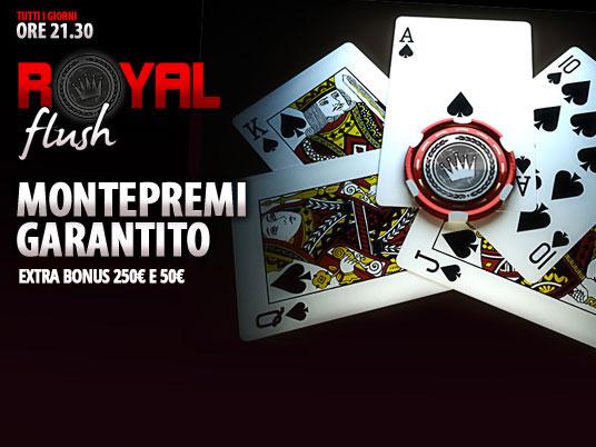 Royal Flush: buy-in da 10 euro e garantito da 3mila… più bonus per scala colore e scala reale