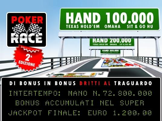 La Poker Race segna altri 10 intertempi:  in una giornata giocate un milione di mani e regalati 1.200 Euro!