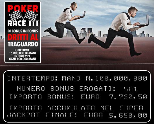 Poker Race alla III edizione: 56.000 Euro sul piatto e obiettivo 15 milioni di mani!