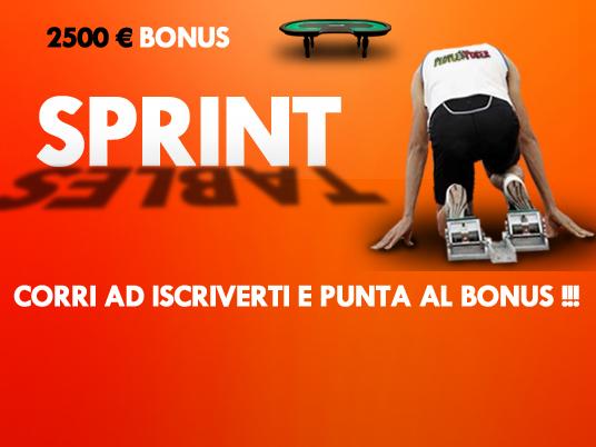 Sprint Tables: velocità e fortuna valgono 2.500 Euro!