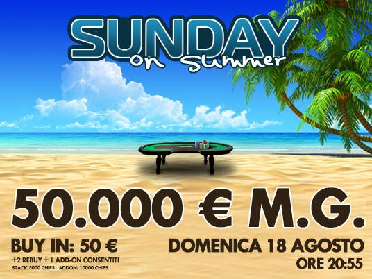 Nuovo Sunday on Summer: l'estate surriscalda i tavoli del poker!