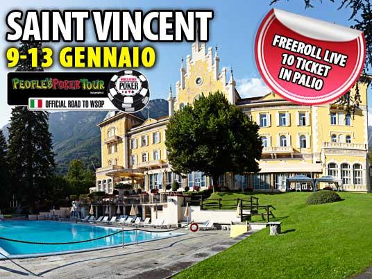 PPTour di Saint Vincent – Un freeroll live per gli ultimi 10 ticket: appuntamento al Casinò