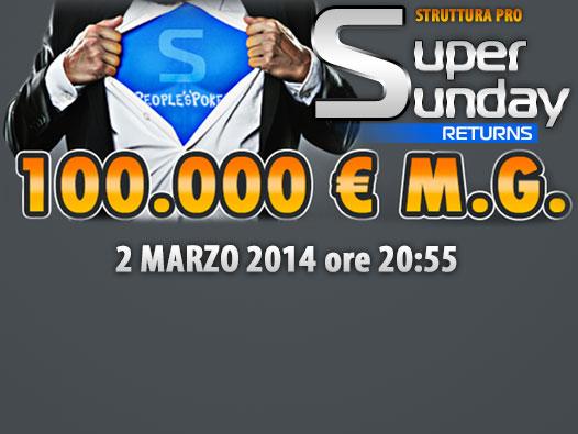 Super Sunday Returns – Con il 2014 il torneo ritorna in lobby con 100mila euro garantiti