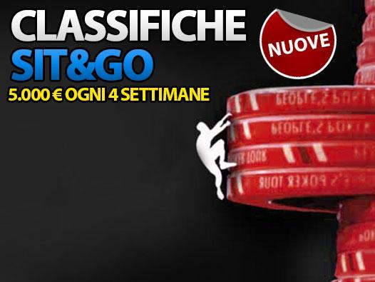 Dal 16 febbraio cominciano le nuove Classifiche Sit&Go: conquista 5.000 Euro ogni 4 settimane!