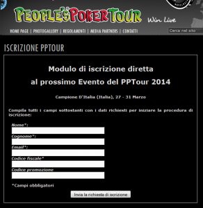 Modulo di prenotazione al People's Poker Tour!
