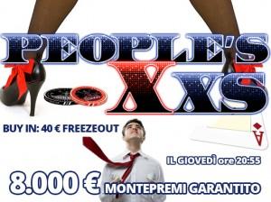Questa sera alle 20:55 c'è il People's XXS: solo 40 Euro in formula FreezeOut per un garantito da 8.000 Euro!