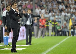 AC Milan coach Massimiliano Allegri looks on during the match against Juventus in their Italian Serie A soccer match at Juventus stadium in Turin