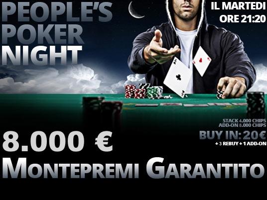 Il Night di stasera a 20 euro per 8K. Ieri show nei due garantiti