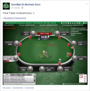 Lo screenshot del post pubblicato da Michele su facebook, appena approdato al Fina Table, da short...