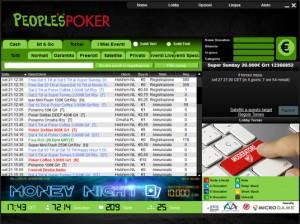 Uno screenshot del nuovo palinsesto presente nella lobby People's Poker