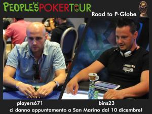 Danilo 'players671' Capogna e Filippo 'bins23' Cascavilla ritratti ai tavoli del People's Poker Tour