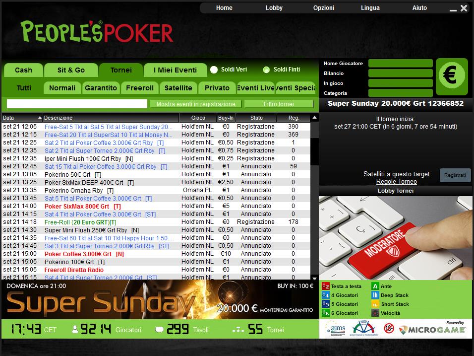 € 29.500 distribuiti solo con i tornei rossi di People's Poker. Tutti i vincitori di lunedì
