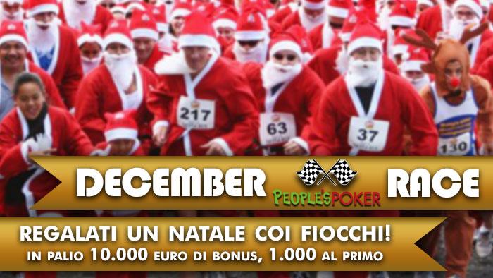 December Race: su People's Poker 10mila euro di bonus per un Natale coi fiocchi!