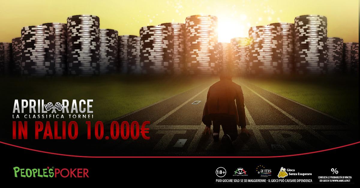 Classifica Mensile Tornei – April Race: dal 1° aprile in corsa per altri € 10.000!