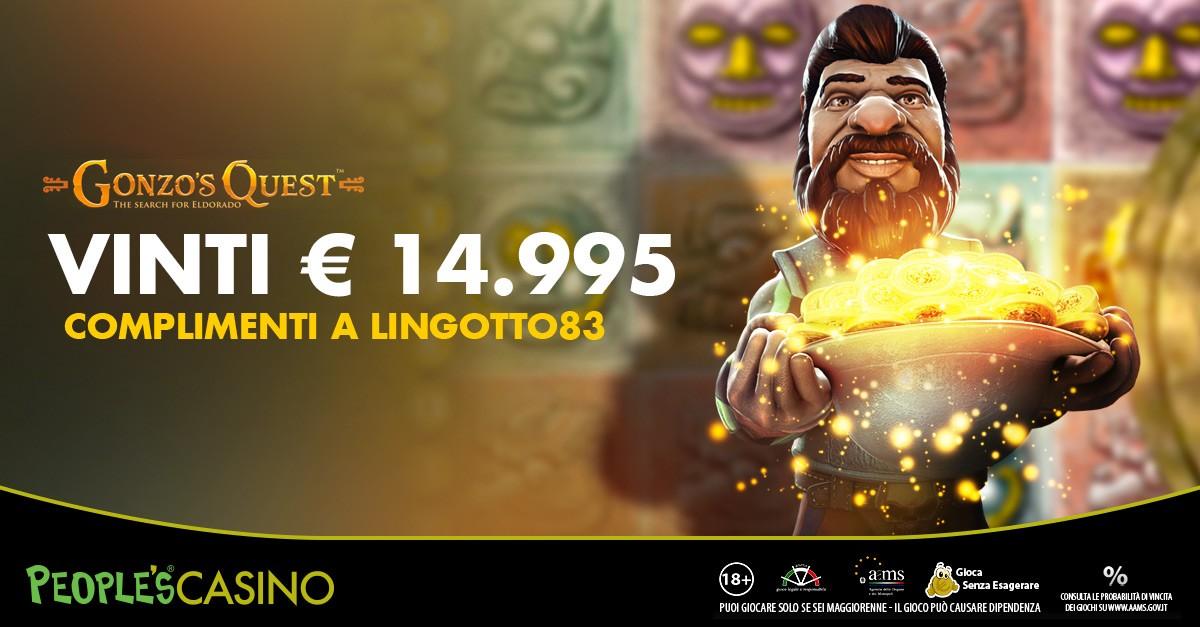 Gonzo's Quest: nella notte 15mila euro per lingotto83!