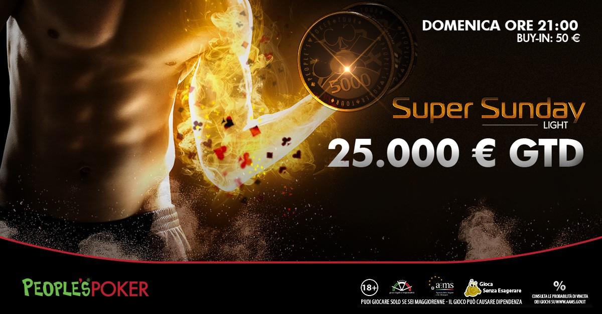 A Pasqua il Sunday è Light: 25mila euro GRT e 50 euro il costo del buy-in!