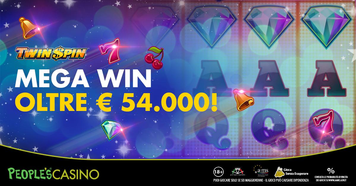 54mila euro con Twin Spin: vincita sensazionale per ciro1976