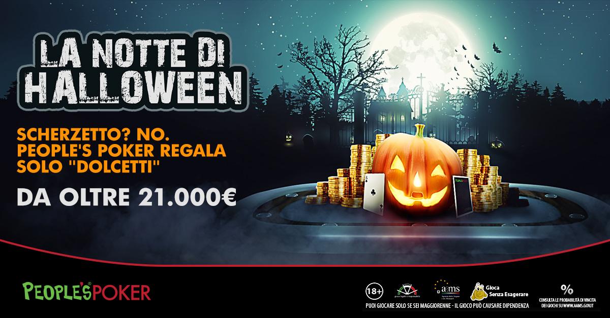 Halloween, 22mila euro di promozione su People's Poker: si parte con un freeroll