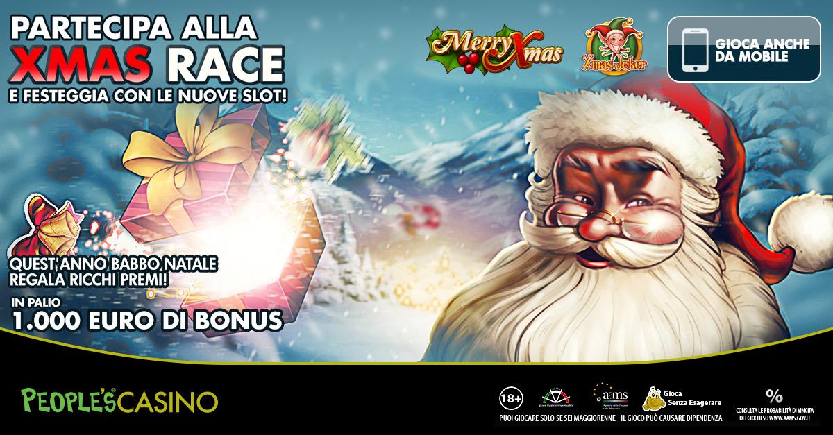 Babbo Natale regala 1.000 euro nel People's Casino con la con Xmas Race