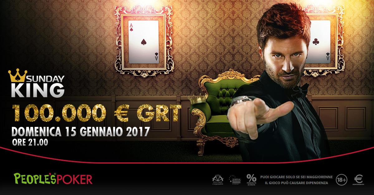 Sunday King, 100mila euro per iniziare il 2017 con People's Poker