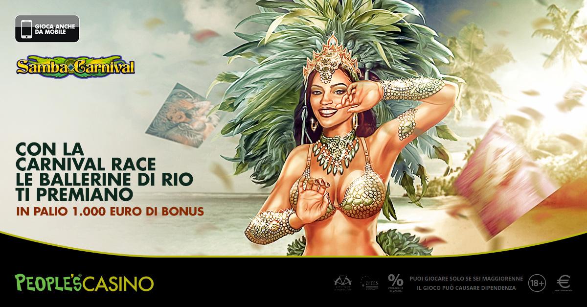 Carnival Race, fino a domenica il Casinò distribuisce 1.000 euro a ritmo di Samba