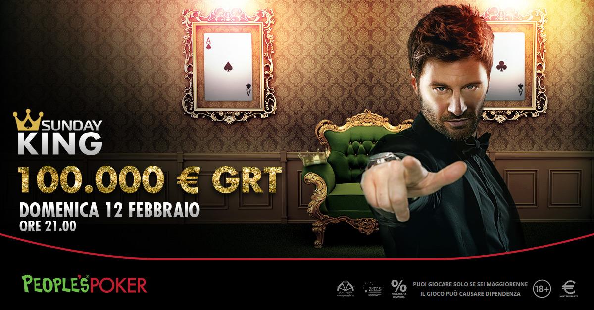 Domenica il Sunday King di People's Poker con 100mila garantiti e 10mila regalati