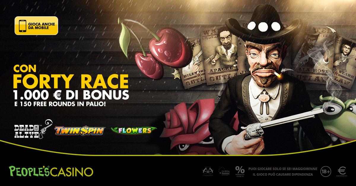 Forty Race, 8 giorni per entrare nella top 40 che vale 1.000 euro e 150 Free Rounds