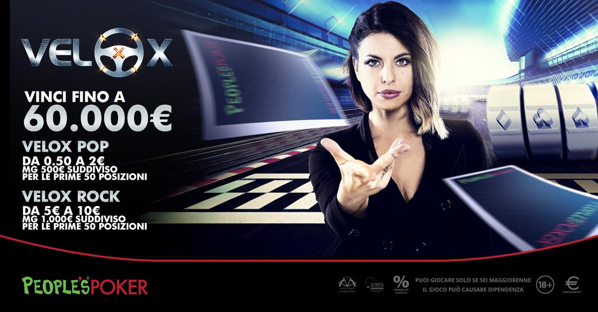 2.000 euro dalle classifiche settimanali: sit e VeloX super convenienti su People's Poker