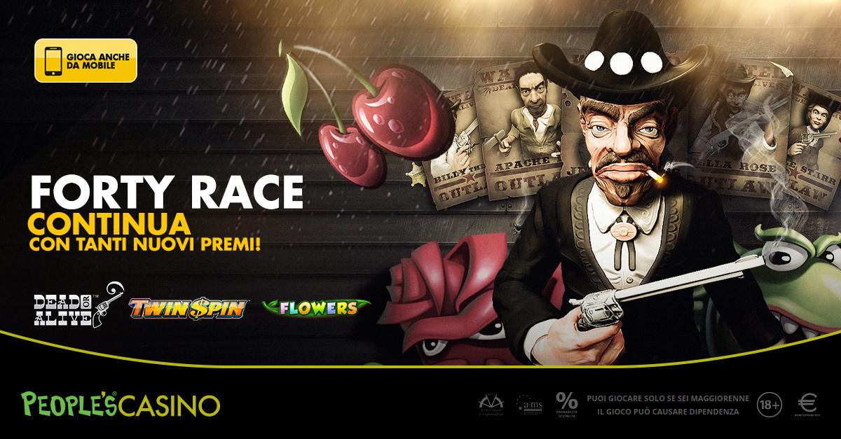 Nel People's Casino ancora Forty Race: 1.000 euro e 150 Free Round per 40 premiati
