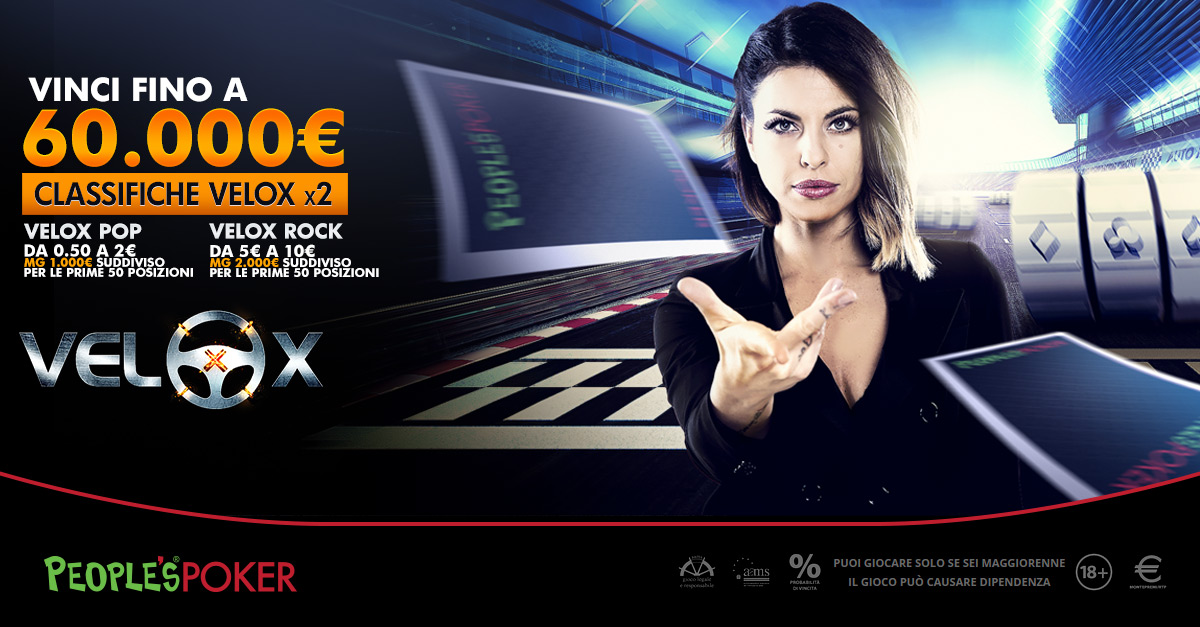 People's Poker, Classifiche Velox: per tutta l'estate 3mila euro a settimana