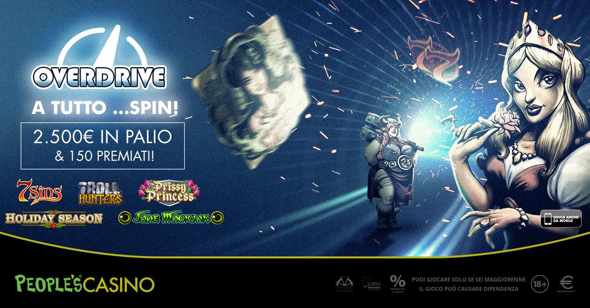 Overdrive, nuovi giochi su People's Casino che inaugura una corsa da 2.500 euro