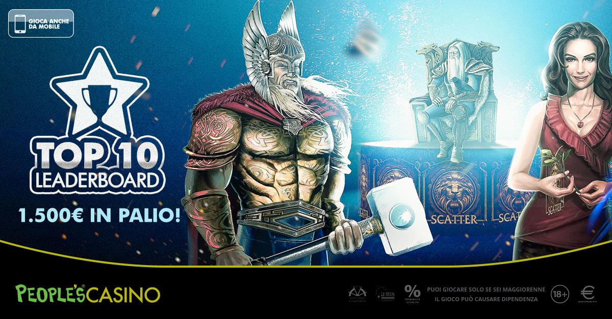 Top 10 LeaderBoard: da stasera la promo People's Casino con 1.500 euro in palio