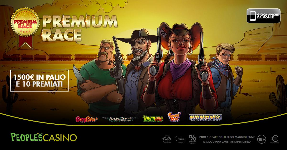 Premium Race: fino al 21, su People's Casino extra premi per 1.500 euro