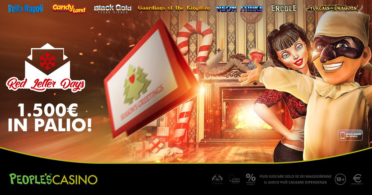 People's Casino lancia Red Letter Days: buste rosse dal valore totale di 1.500€!