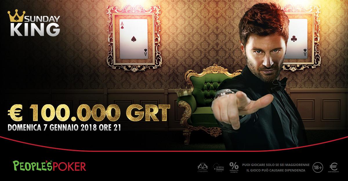 Sunday KING: People's Poker mette 100.000 euro sotto l'albero. Accesso con freeroll e VeloX da 10 cents
