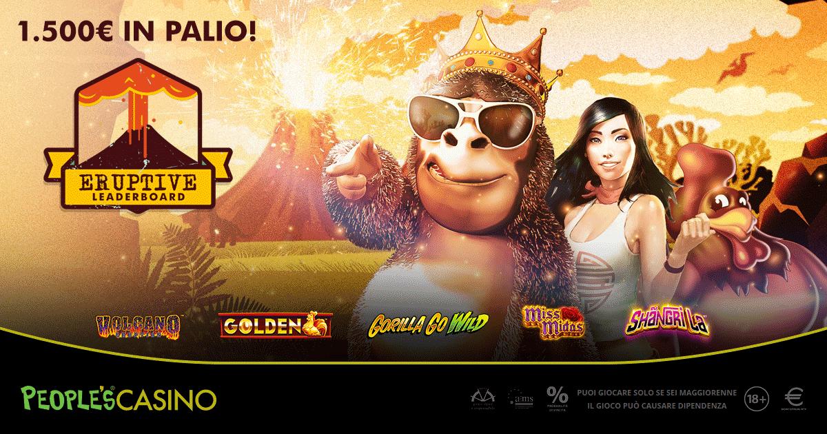 Eruptive Leaderboard, incandescente promozione del People's Casino con 100 premiati
