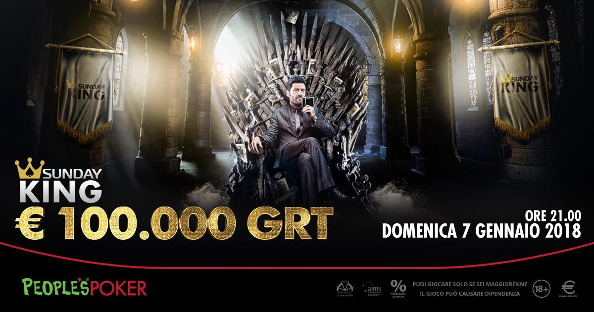 Sunday KING da 100K, il 7 su People's Poker il migliore inizio per il 2018