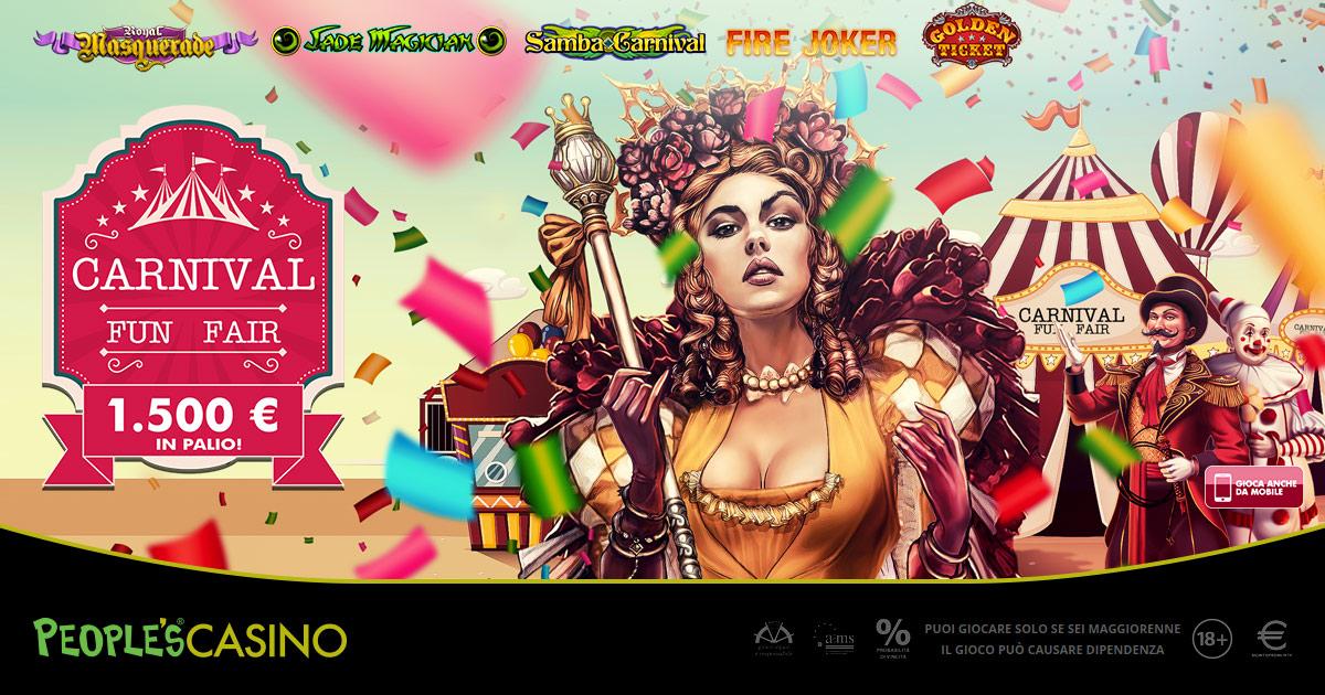 Carnival Fun Fair: fino a Martedì Grasso su People's Casino si corre per 1.500 extra