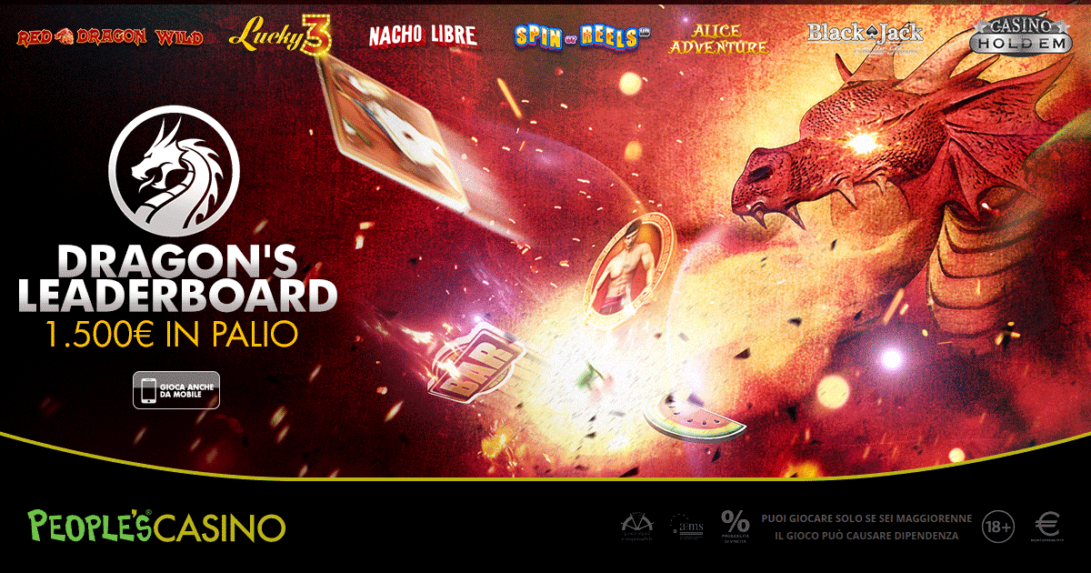 Dragon's Leaderboard: il People's Casino distribuisce 100 premi e 1.500 euro