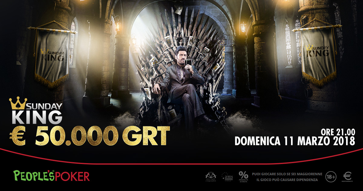 Sunday King, domenica il torneo da 50mila euro su People's Poker