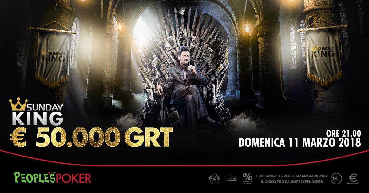 Super Sunday da 25mila euro, oltre 5K al vincitore. Domenica versione KING con garantito raddoppiato