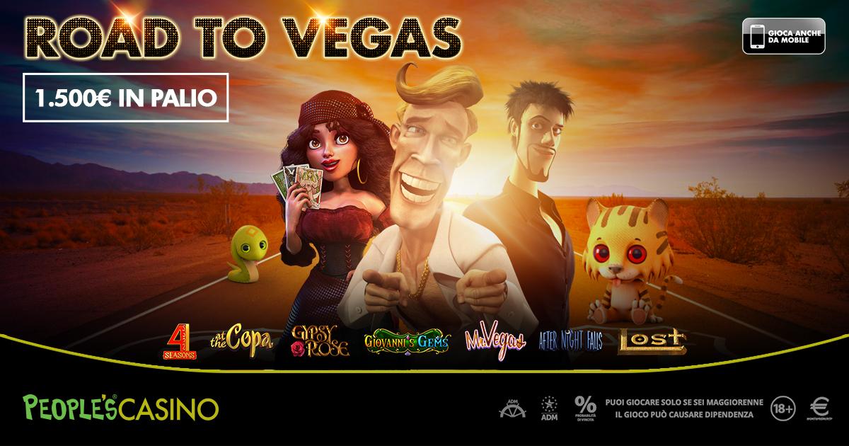 Road To Vegas, promo da 1.500 euro del People's Casino sempre leader in Italia