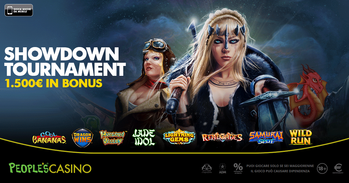 ShowDown Tournament, la promo di People's Casino premia con 100 bonus