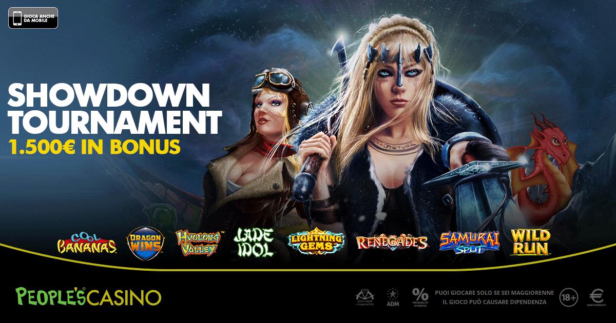 ShowDown Tournament, la promo di People's Casino premia con 100 bonus